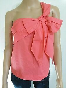 99-J-Crew-One-Shoulder-Bow-Women-039-s-Sz-0-Top-Coral-Hippie-Festival-Sumner