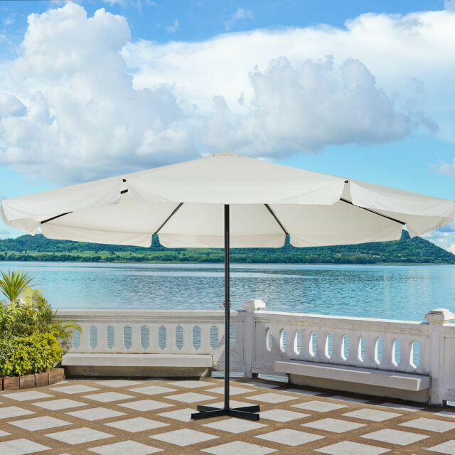 104fab3ecd Outsunny Patio Umbrella Canopy Tilt Crank Sun Shade Aluminium Cream White  Φ5m