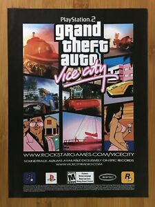 GTA Grand Theft Auto: Vice City PS2 2002 Print Ad/Poster Official Promo Wall Art