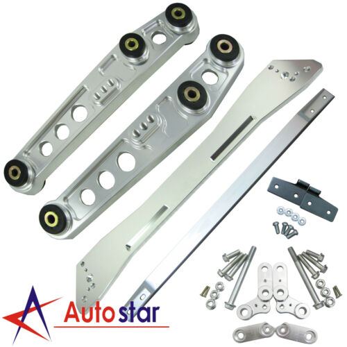 Silver Rear Lower Control Arm Subframe Brace Tie Bar Kit For Civic Integra