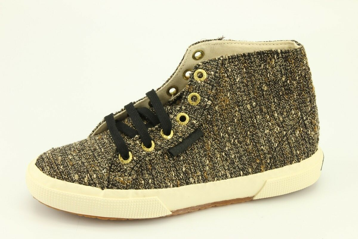 NEW Superga The Man Repeller gold Tweed High Sneakers Women 35   5 Men 3.5