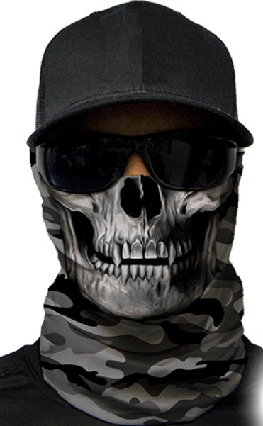 MOTORCYCLE FACE MASK - MILITARY SKULL GREY - (Moto, Hunting, Fishing, Paintball)