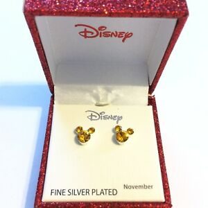 f7c331d8703ac Details about Disney Mickey Mouse Crystal Birthstone Stud Earrings November