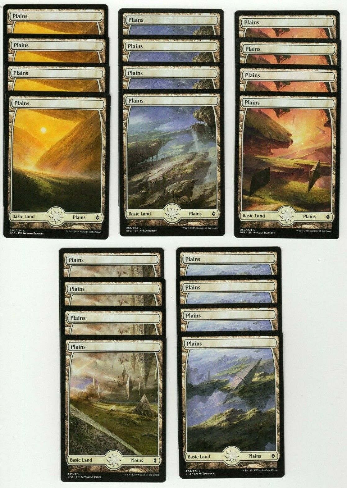FULL ART 253 PLAINS X4 Battle For Zendikar BFZ Magic MTG NM CARD