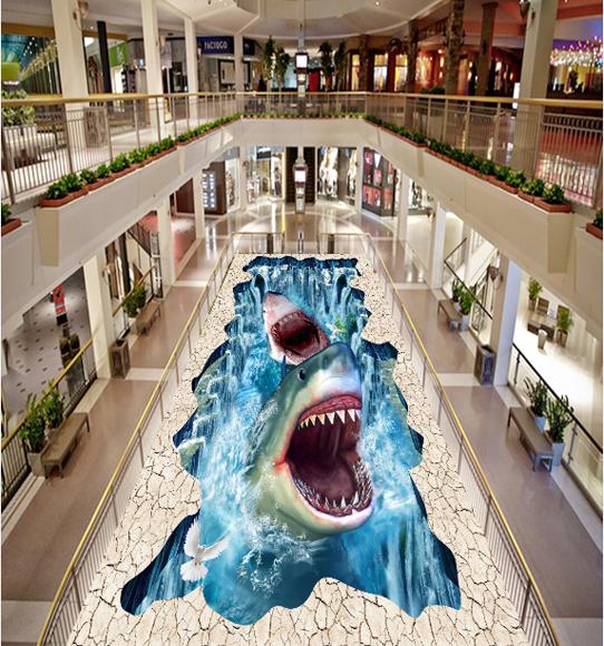 3D Hai Brüllen Fototapeten Wandbild Fototapete Tapete Familie DE Lemon