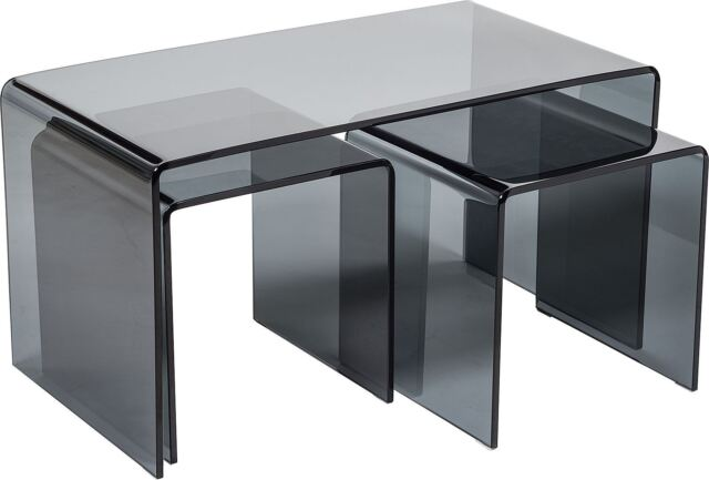 Modena Bent Curved Black Glass Modern Coffee Nest Living Room End Side Table