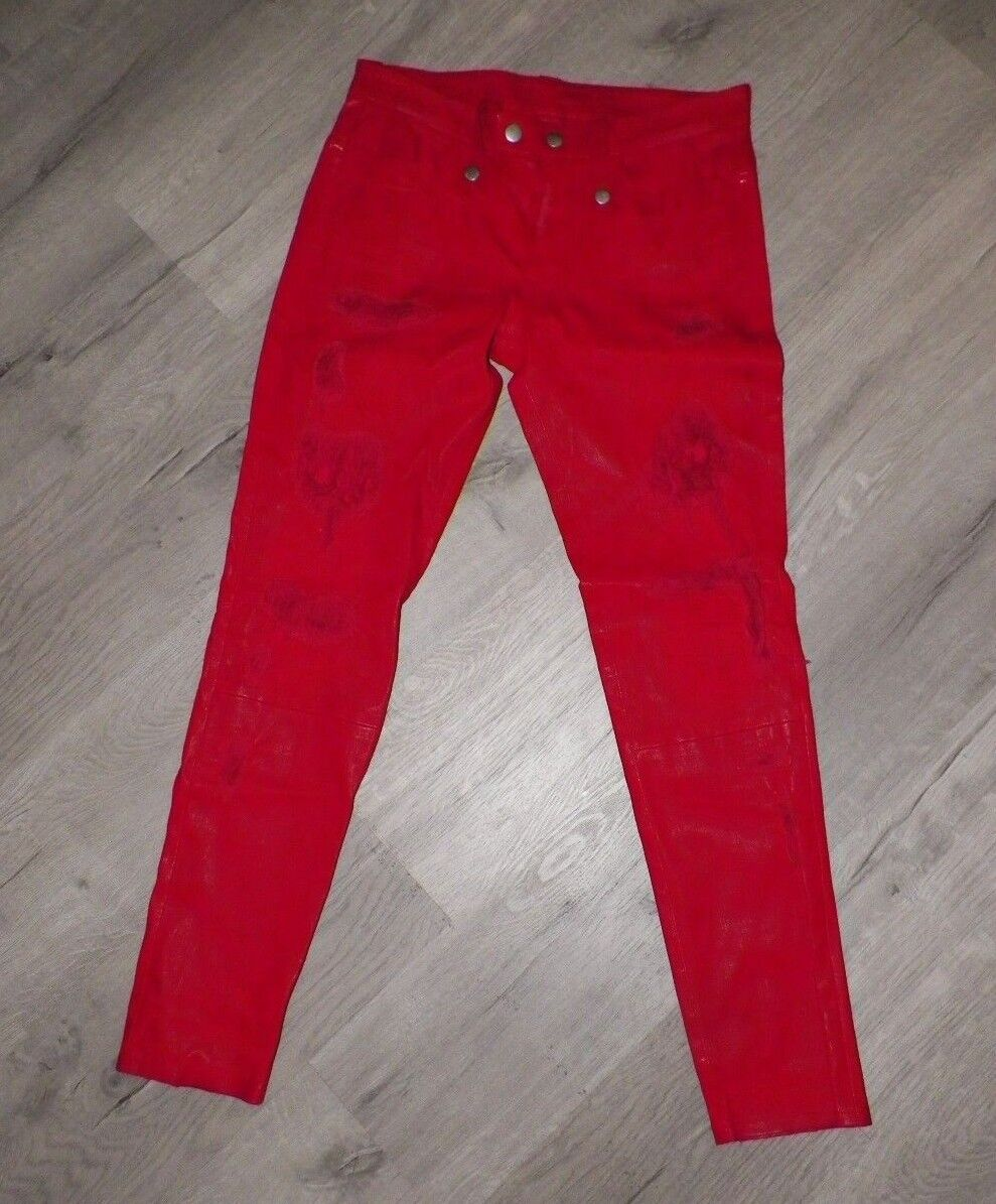 WOMAN'S UNRAVEL PROJECT BEN TAVERNITI RED CALF SHREDDED FRONT PANTS BUTTON FLY