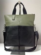 Coach Foldover Smooth Leather Crossboby Tote Bag in Black/Surplus Green F71722