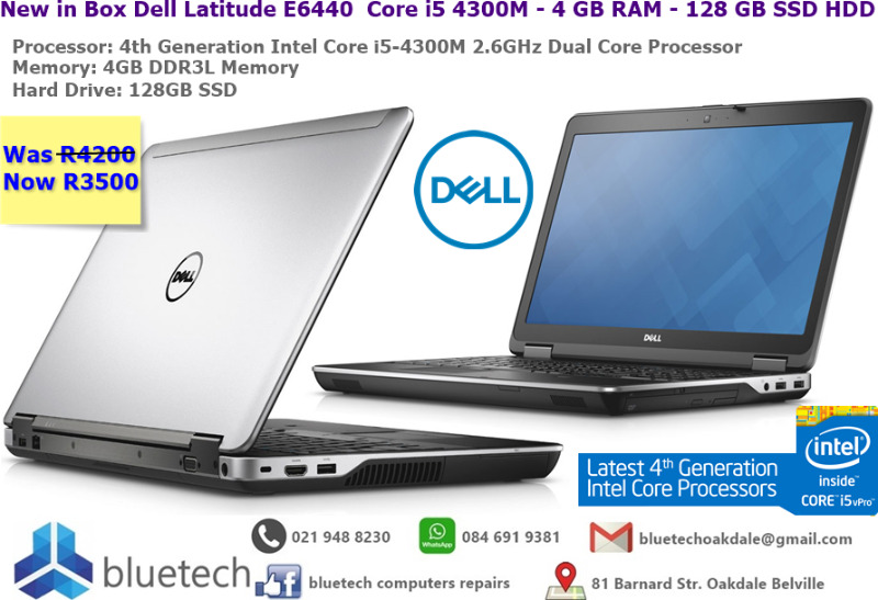 New in Box Dell Latitude E6440  Core i5 4300M - 4 GB RAM - 128 GB SSD HDD - Bluetech
