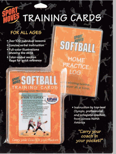 SOFTBALL training cards deck practice coach illustrated teach skills lesson aid
