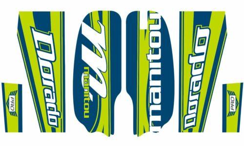 Manitou Dorado Pro Fork Suspension Graphic Decal Kit Sticker Set Green Blue