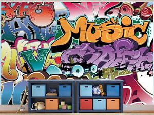 Graffiti Etichetta Musica Adolescente Camera da Letto Carta da ...