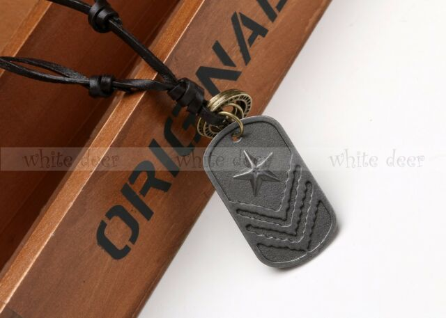 Bronze Alloy Tone Star Dog Tag Necklace Pendant Army Military Leather String