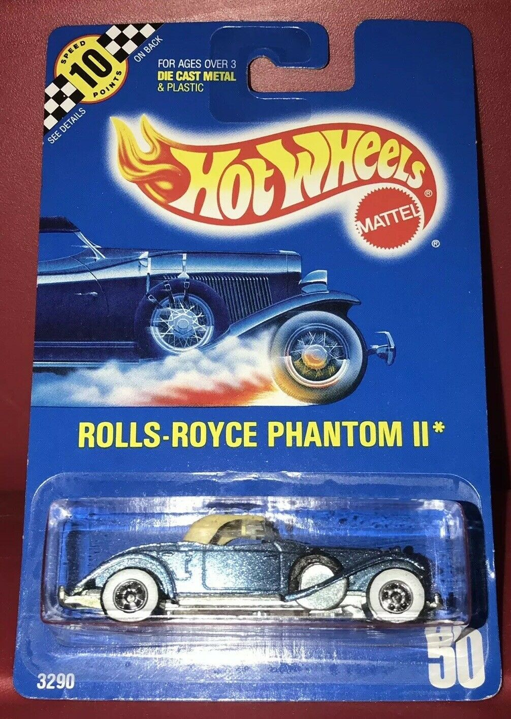 Hot Wheels Rolls-Royce Phantom II HTF bluee Card Rare Condition Speed Points