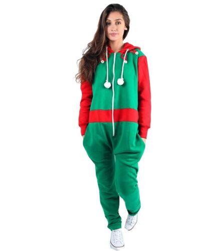 New Ladies Santa Elf Novelty Christmas All In One Jumpsuit ZipUp Unisex Playsuit