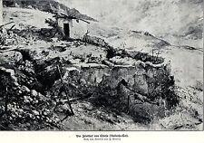 1917 Vallarsa-Tal: Der Friedhof von Chiesa * antique print