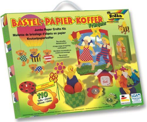 "Folia Bastel Papier Koffer /""Frühjahr Ostern/"" 110 Teile inkl Anleitung"
