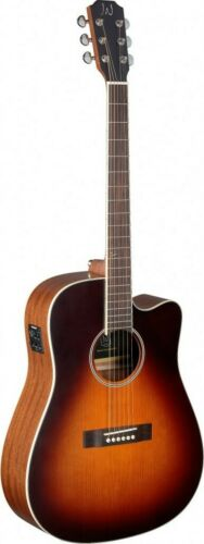 Ezra s... 4//4 cutaway acoustic-electric dreadnought guitar with solid cedar top
