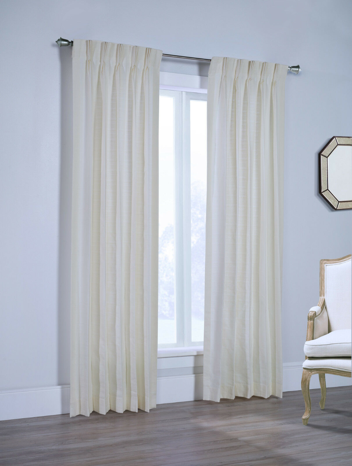 Canton 100% Cotton Pinch Pleated Drape Pair, Cream, 132  wide by 84  long