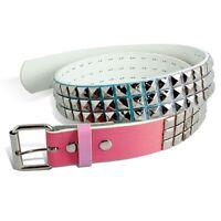 Rb98328 - Toneka Unisex Three Row Shiny Nickel Studded Pyramid Pink Belt Size 42
