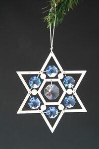 "SWAROVSKI CRYSTAL ELEMENTS ""Star of David"" FIGURINE - ORNAMENT SILVE PLATED"