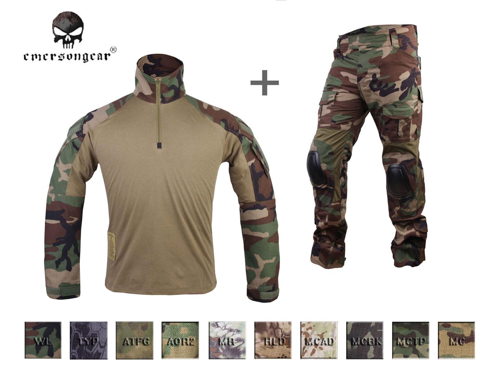 Emerson Combat Gen3 Camisa Pantalones Traje Airsoft UNIFORME BDU Táctico Con Rodilleras
