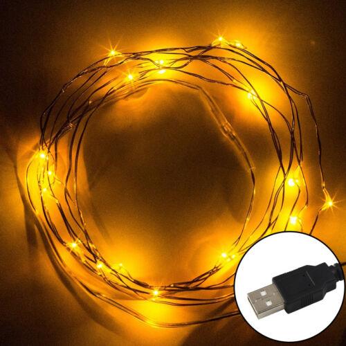 5M 16.5Ft 50 LED Lichterkette Stripe USB Weihnachten Außen Wasserdicht Warmweiß