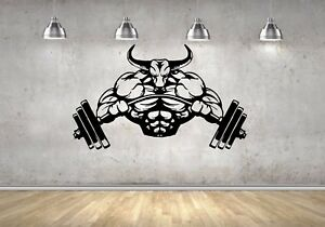 Wall Decal Strong Angry Bull Bodybuilder Decal Fitness Gym Sticker