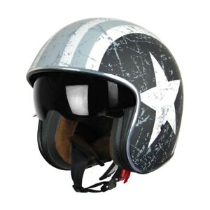 Casco Jet Origine Sprint Rebel Star Grey Opaco Visiera Fumè Custom Scrambler