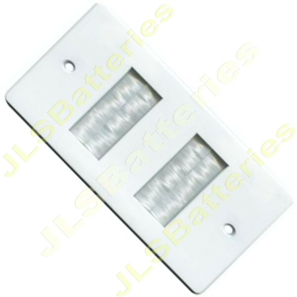 2 Gang White Brush Strip Cable Entry Wall Face Plate Outlet Tv Double 2g Twin