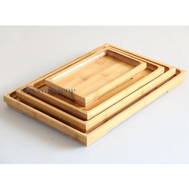 1 X Bamboo Serving Tray Plate Tea Ceremony Food Dinner Rectangle Vintage Chinese