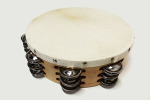 "AP PRO SUPER DELUXE 10"" SOLID WOOD FRAME TAMBOURINE TRIPLE ROW JINGLE HAND MADE"