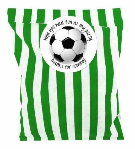 Personnalisé Football Fête D/'Anniversaire Sacs Bonbons Candy avec 24 x 31 mm autocollants