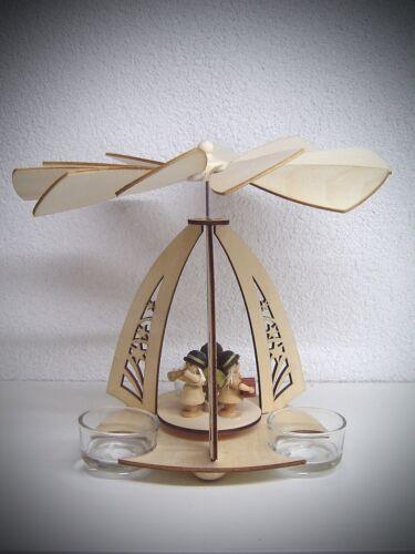 Teelicht Engel Bogen Pyramide mit 3 Figuren Engel 19 cm 3 Teelichter 50064