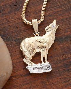 "Wolf Pendant Hand Cut Howling Wolf Medallion,3/4"" diameter, ( # 604 )"