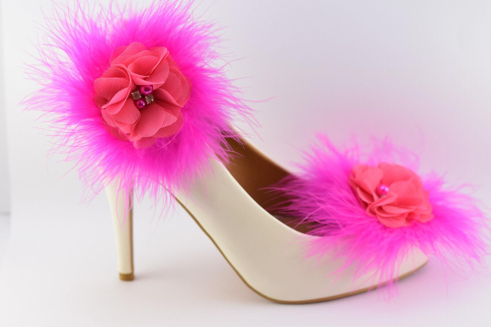 Shoe Clips Bridal,Wedding Puff Marabou Feather Flower Rhinestone