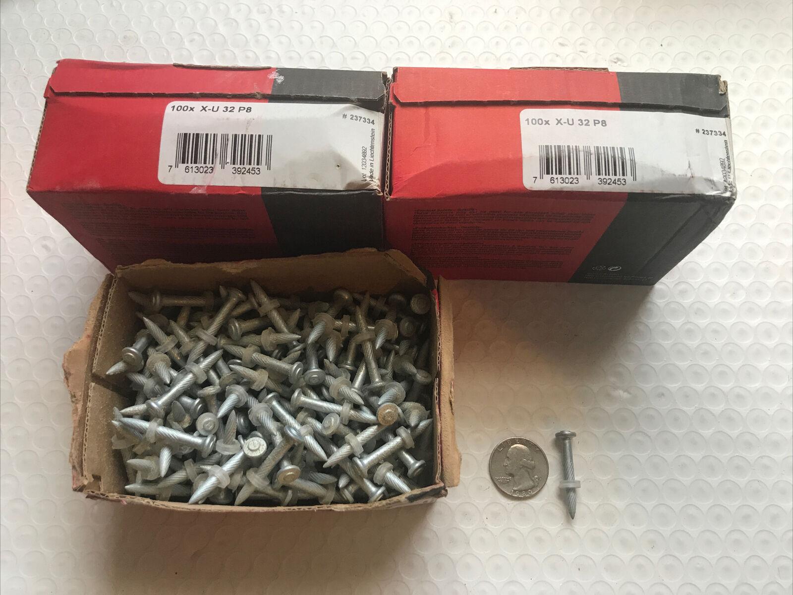 """*NOB* 1-1//4/"""" Hilti Premium Fastener #237334 X-U 32 P8 100 PC LOT OF 3 BOXES"""