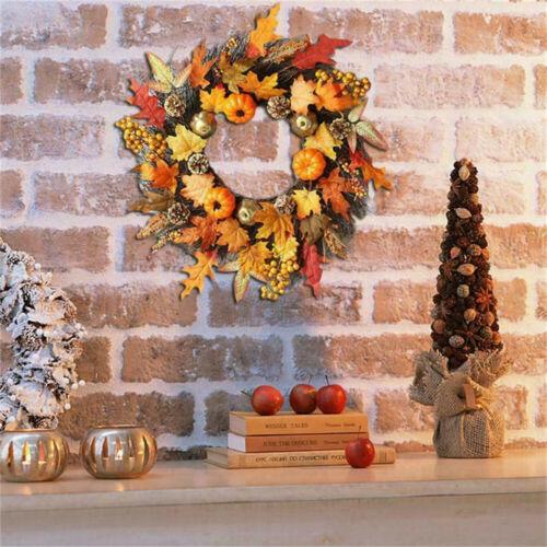 Autumn Maple Leaf Pumpkin Berry Wreath Halloween Thanksgiving Door Home Decor