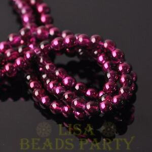 Hot-100pcs-6mm-Round-Glass-Loose-Spacer-Beads-Jewelry-Making-Fuchsia