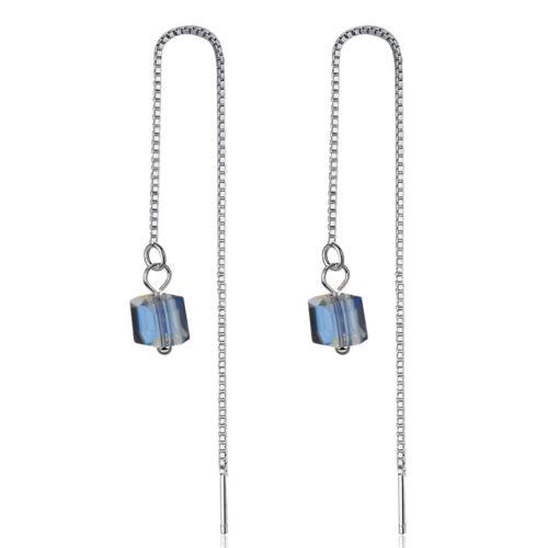 Moda Plata Esterlina 925 cubo de cristal austriaco Borla Cadena Colgantes Pendientes