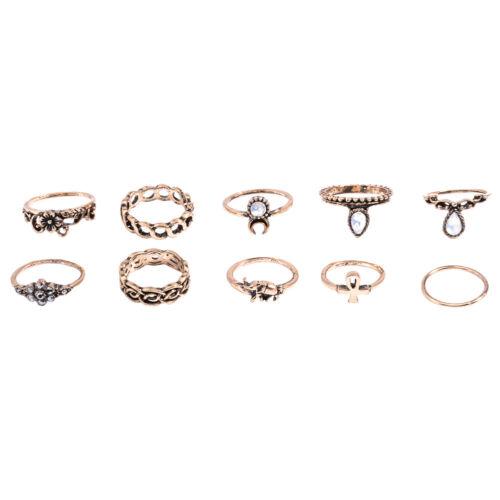 10Stk//Set Damen Midi Ringe Retro Fingerspitzenring Obergelenkring Knöchelring