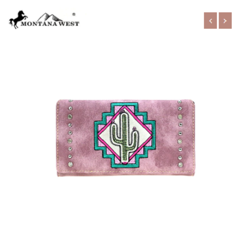 MW865-W010 Montana West Aztec Collection Pink Cactus Secretary Style Wallet