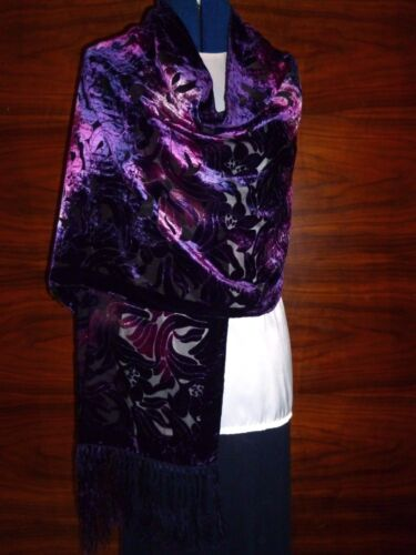 Velvet devore scarf//shawl  Purple//pink velvet floral design on black silk   NEW