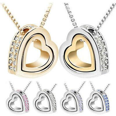 Fashion Women Heart Rhinestone Crystal Charm Chain Pendant Necklace Jewelry Gift