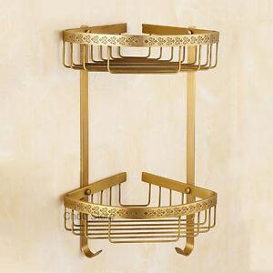 Luxury-Carved-Solid-Brass-Bath-Double-Corner-Shelf-Shower-Holder-Storage-Basket