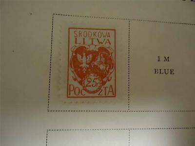 Vintage Central Lithuania Postage Stamp 1920 On Page - Make an Offer