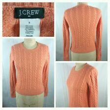 J CREW cashmere cotton angora blend crew neck cable knit sweater size small
