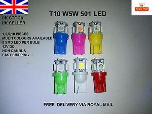 T10-501-W5W-CAR-5-LED-RED-BLUE-GREEN-WHITE-PINK-LIGHT-BULBS-LAMP-INTERIOR-12V