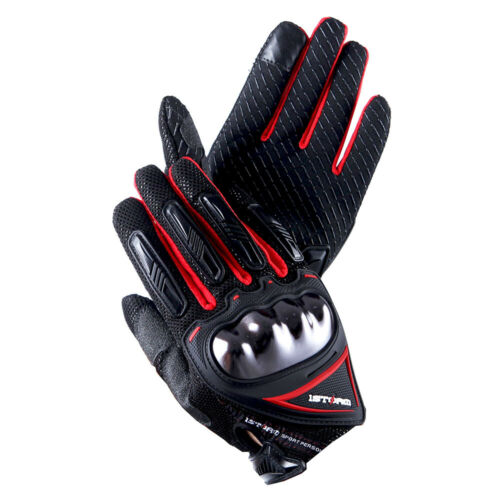 1Storm Motocross Motorcycle Glove Bike Cycling Hard Knuckle Touch Screen Red