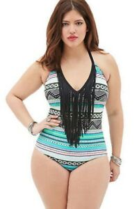 1ea3225d668 Plus Size Swimsuit Tribal Print Fringe Halter Top Bathing Suit SEXY ...